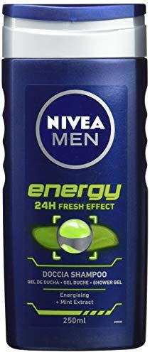 Nivea Men Energy ducha champú Estimulante con extractos de menta 250ml, pack de 3
