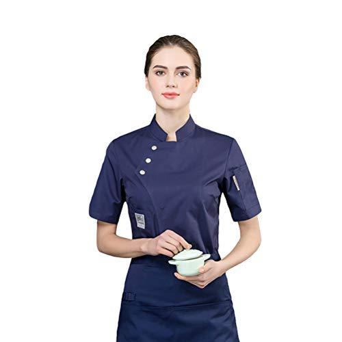 Jitong Kochjacke Herren Kochkleidung Küche Arbeitsjacke Bäckerjacke Kurzarm Arbeitskleidung für Köche - Blau, L