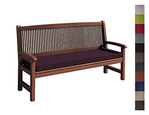 sunnypillow Coussin pour Banc de Jardin 110 x 50 x 5 cm plusieures Tailles et Couleurs à Choisir Assise Confortable pour Banc de terrasse/Balcon/Banquette/Galette de Chaise Violet