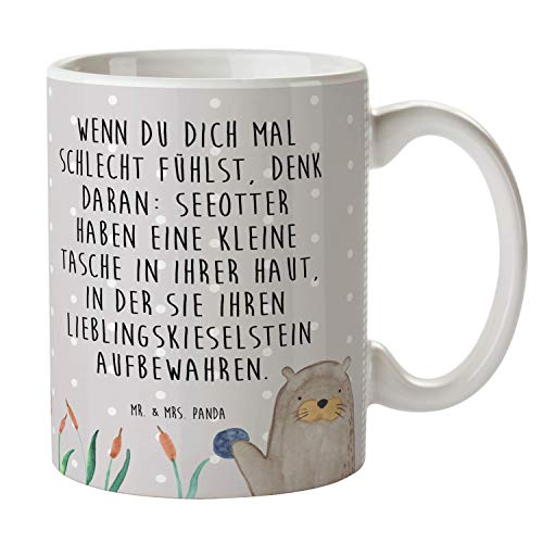 Mr. & Mrs. Panda Tee, Kaffeebecher, Tasse Otter mit Stein mit Spruch - Farbe Grau Pastell