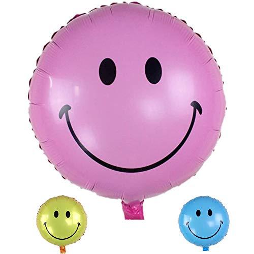DIWULI, Smiley Luftballon, rosa Emoji Folien-Luftballon, Geburtstags-Ballon rosa, Emoticon Folien-Ballon für Geburtstag, Kindergeburtstag Junge Mädchen, Party, Feier, Dekoration, Geschenk-Deko, DIY