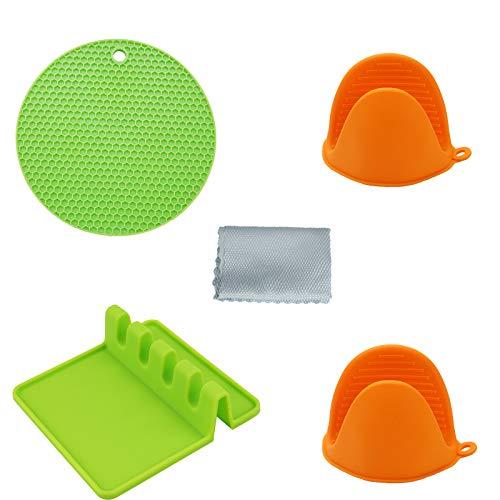 Set di utensili in silicone, 1 spatola da cucina, 1 sottopentola in silicone antiscivolo, 2 mini guanti da forno in silicone, 1 panno per la pulizia.