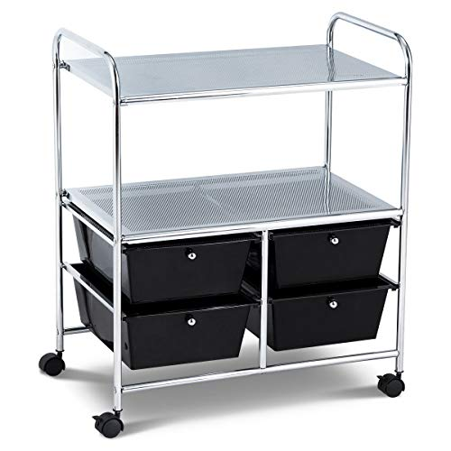 RELAX4LIFE Storage Cart W/Four Drawers, Wheels and Two Shelves, Stable Steel Frame Craft Cart for Office,Home, Make Up Storage and Files Arrangement Storage Cart Organizer (Black)