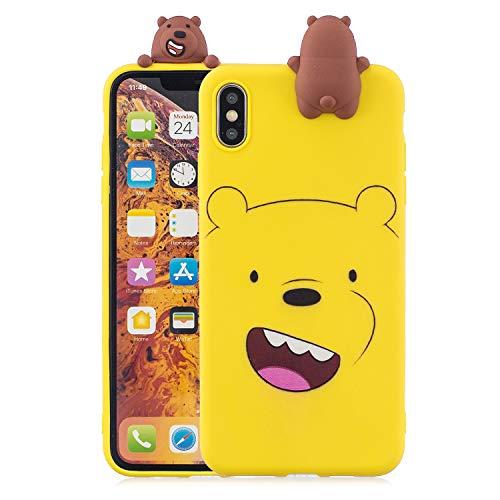 Artfeel Niedlich 3D Karikatur Hülle für iPhone XS,iPhone X Hülle, Schön Tier Gelb Bär Muster Weich Silikon Zurück Handyhülle,Ultra Dünn Flexibel TPU Bumper Kratzfest Schutzhülle