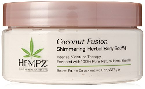 Hempz Coconut Fusion Herbal Shimmering Body Souffle, 8 oz. – Moisturizing Shea Butter Lotion for Instant Hydration, Skin Care, Scented Beauty Products for Women and Men – Whipped Hemp Body Cream