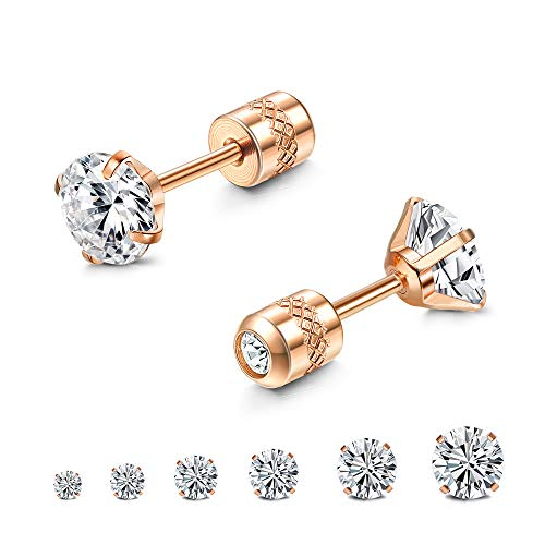 Milacolato 6 Pairs Stud Earrings for Women Men Stainless Steel Double Round Cubic Zirconia CZ Earrings Screw Back 2-7MM