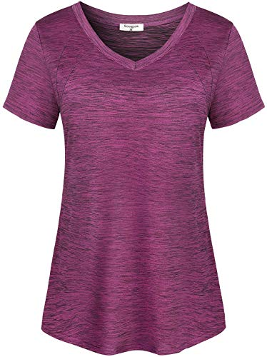 Soogus Yoga Shirts for Women Loose Fit Workout Tops V Neck Training Active Tshirts Athletic Top Short Sleeve (Red Bud, XL)