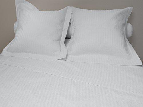 Eden Parure de Drap 4 pièces en Percale Satin, Coloris Blanc, Polyester Coton, 240x300 cm