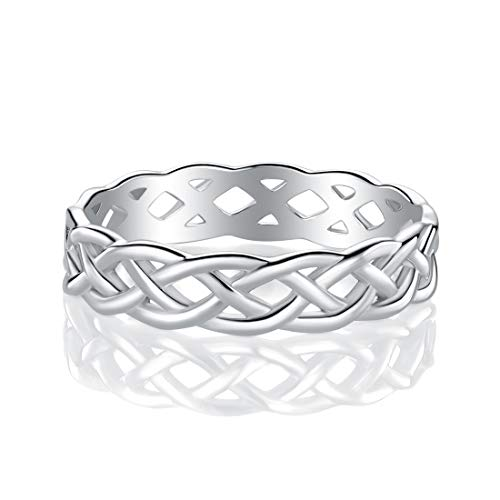 GEMSME 925 Sterling Silver Celtic Knot Eternity Band Ring (9)