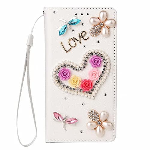 Miagon Glitzer Brieftasche Hülle für Samsung Galaxy S9 Plus,3D PU Leder Geldbörse Kartenhalter Stand Handyhülle Glänzend Diamant Strass Cover Mädchen Frauen,Herz Weiß