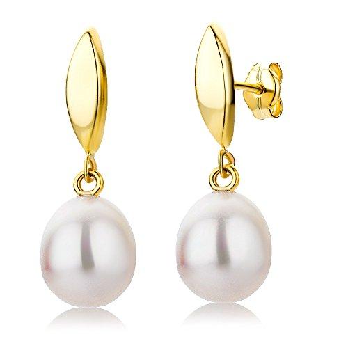 Miore Damen Ohrstecker 9 Karat – Elegante Perlen Ohrringe aus 375 Gelbgold mit weißer Süßwasserzuchtperle – Ohrringe hängend 8 x 24 mm