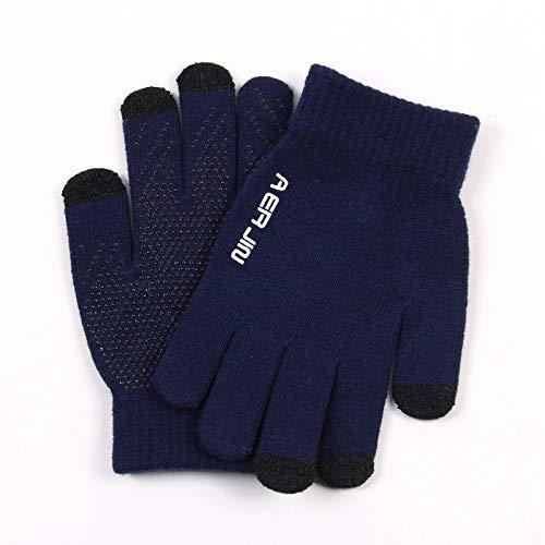 Touch Screen Handschoenen Herenherfst en Winter Fietsen Plus Wol Handschoenen koudbestendig Nonslip Handschoenen Outdoor Handschoenen Eén maat marineblauw