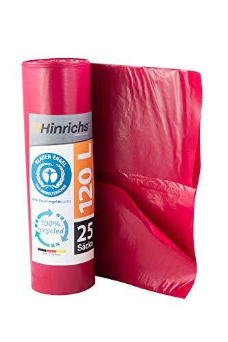 Hinrichs 120 L Sacchi per la Spazzatura - Rotolo da 25-70x110 cm - 70µ - LDPE - Rosso