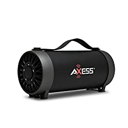 AXESS SPBT1056 Portable Bluetooth Speaker With Built-In Usb Support, Fm Radio, Line-In Function And Rechargeable Battery, Black