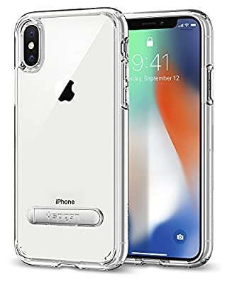 Spigen Ultra Hybrid S iPhone X Case with Air Cushion Technology and Magnetic Metal Kickstand for Apple iPhone X (2017)