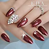 EDA LUXURY BEAUTY DARK RED BURGUNDY 3D LUXE JEWEL DESIGN Full Cover Press On Nails Acrylic Nail Kit Artificial Nail Tips Long False Nails Oval Round Pointed Almond Stiletto Nail Art Fashion Fake Nails