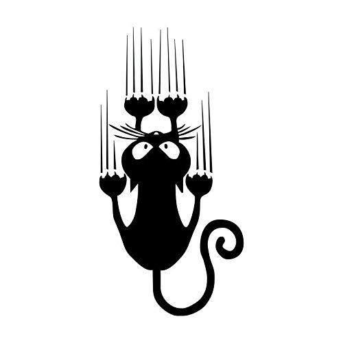 Tragbarer Treteimer abnehmbare Deckel Ist 7.5 * 15CM Wasserdichte Katzen-Muster-Auto-Aufkleber Funny Animal Vinyl Aufkleber Auto-Fenster-Aufkleber Hanging Abfalleimer Klapp ( Color Name : Black )