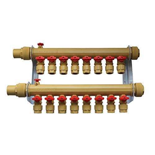 Collettore riscaldamento a pavimento PPR 2 3 4 5 6 7 8 9 10 circuiti - collettore termosifoni collettore per tubi multistrato (10 circuiti)