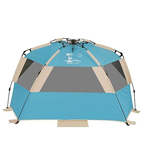 IREANJ Tienda de campaña familiar para exteriores, tamaño grande, 2-3 personas, tienda de playa, portátil, protección UV, para acampar, al aire libre, tienda de campaña al aire libre, color azul