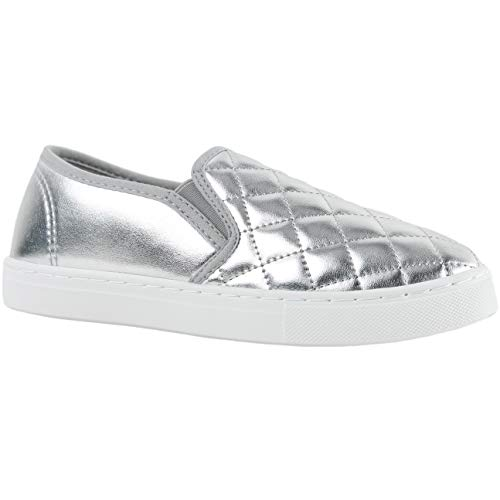 ILLUDE Women's Round Toe Slip On Sneaker Comfort Cushioned Quilted Fashion Sneakers (8 M US, Silver)