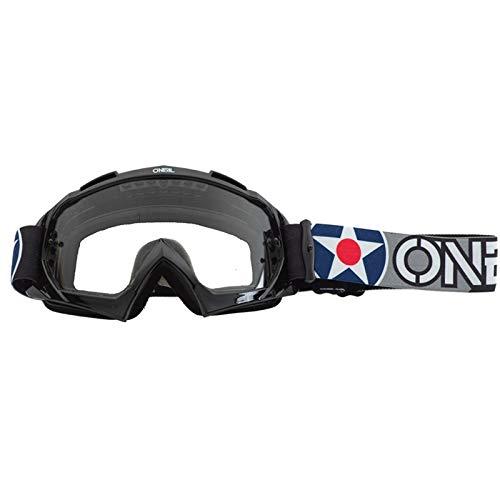 O'NEAL | Fahrrad- & Motocross-Brille | MX MTB DH FR Downhill Freeride | Hochwertiges 3D-Formmaterial für ultimative Klarheit, UV-Schutz | B-10 Goggle | Unisex | Schwarz Weiß Clear| One Size