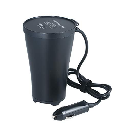 Honelife 150W Portable Power Inverter DC 12V to AC 220V Cup-Shaped Car Inverter Converter Transformer with 1 AC Outlet 1 Cigarette Lighter Socket Dual USB Ports