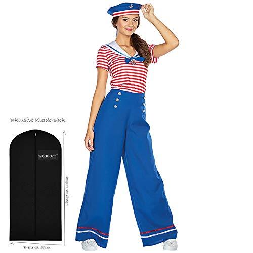 WOOOOZY Damen-Kostüm Matrosin, Gr. 40 - inklusive praktischem Kleidersack