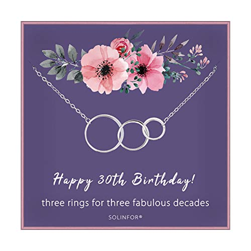 SOLINFOR 30th Birthday Gifts for Women - 925 Sterling Silver Necklace - Three Circle for Her 3 Decade - 30 Years Old Jewelry Gift Idea