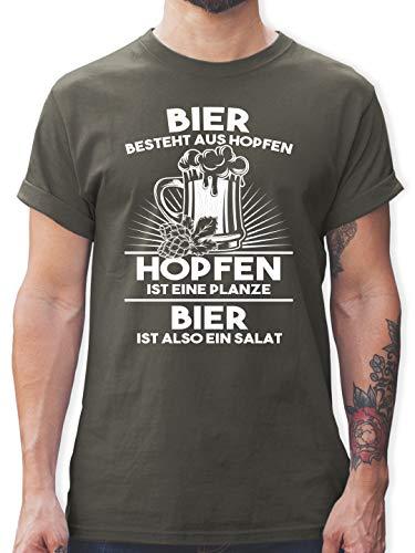 Sprüche - Hopfen ist eine Pflanze Bier ist Salat - S - Dunkelgrau - l190_Shirt_Herren - L190 - Tshirt Herren und Männer T-Shirts