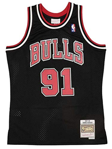 Mitchell & Ness Dennis Rodman 91 Replica Swingman NBA Jersey Chicago Bulls Black HWC Basketball Trikot