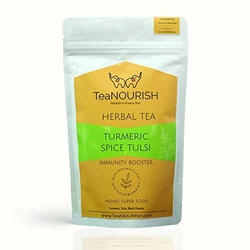 TeaNOURISH Turmeric Spice Tulsi Herbal Tea   Immunity Booster   100% NATURAL INGREDIENTS (100gm)