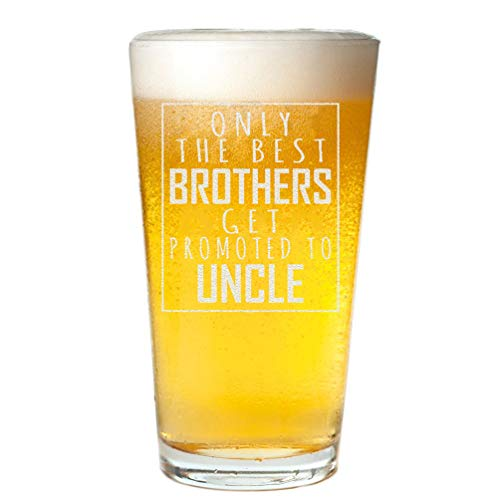 Veracco Only The Best Brothers Get Promoted To Uncle For Him Birthday Gifts Fathers Day Beer Pint (Clear, Glass)