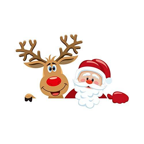 PMSMT Pegatinas navideñas Feliz año Nuevo Papá Noel muñeco de Nieve Interruptor Decorativo extraíble Pegatina de Pared decoración navideña para el hogar