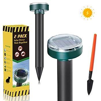 Michael Doss Mole Repellent,2 Pack Solar Powered Mole Repeller,Gopher Repellent Ultrasonic,Snake Repellent for Outdoors Pet Safe,Vole Repellent,Groundhog Repellent for Lawn Garden & Yard Home
