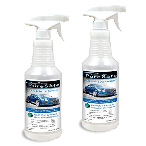 Dvelup Puresafe Spray Antibacterial & Antiviral ONE-Step Sanitizer for Automotive Disinfecting, EPA Recommended for COVID-19 2x32oz