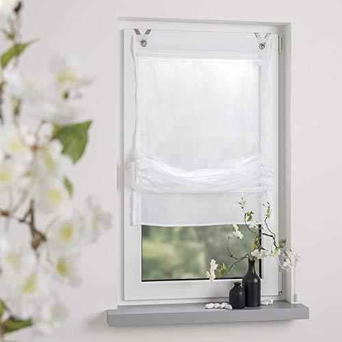 OBI Raffrollo Raffvorhang Easy Gardine Store Montage ohne Bohren | Weiß | 120 x 170 cm