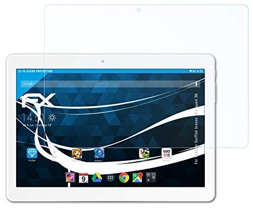atFolix Schutzfolie kompatibel mit Trekstor SurfTab Breeze 10.1 Quad 3G Folie, ultraklare FX Bildschirmschutzfolie (2X)