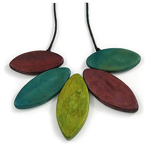 Avalaya Purple/Teal/Olive Green Wood Leaf with Black Cotton Cord Necklace - 100cm Long - Adjustable