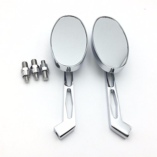 HTTMT MT027-CD Chrome Mirror Compatible with Harley Softail FatBoy Road King Dyna Sportster