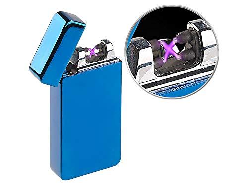 PEARL Elektronisches Feuerzeug mit doppeltem Lichtbogen, Akku, USB, blau