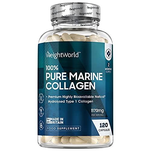 Collagene Marino 100% Puro - 120 Capsule (Fornitura per 2 Mesi) - Collagene Idrolizzato Naticol Tipo...