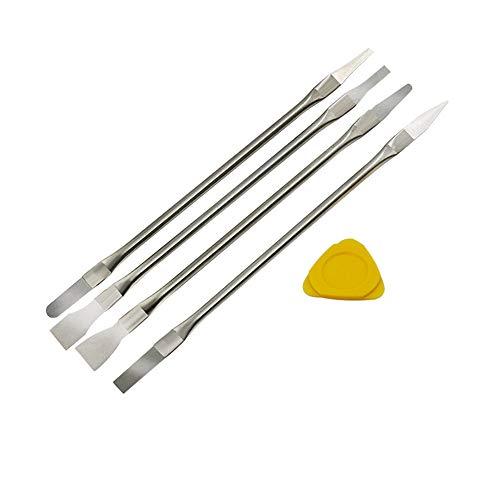 Conjunto de ferramentas Souarts de metal com pontas duplas e ferramenta de remoção de cola, conjunto de ferramentas de metal Spudger, kit de ferramentas de reparo profissional para iPhone iPad Tablet eletrônicos de celular (prata-4 peças)