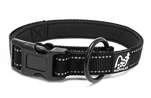 Happilax hondenhalsband, gevoerd, verstelbaar en reflecterend, met trekkoord voor lijn met haken, Large, zwart.