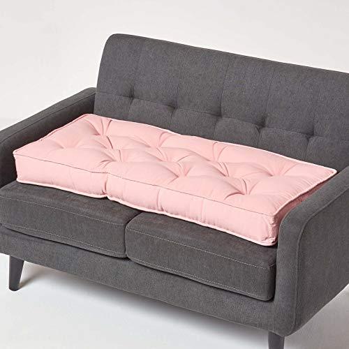 Homescapes langes Sitzkissen für 2er Couch mit Baumwollbezug, rosa, Dickes Sitzpolster für 2-Sitzer Sofas und Gartenbänke 100 x 50 cm, 10 cm hohe Sitzauflage/Bankauflage mit Tragegriff