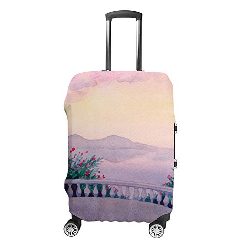 CHEHONG Housse de valise à roulettes - Aquarelle - Paysage marin - Housse de protection lavable en fibre de polyester élastique - Résistante à la poussière - Compatible avec 45,7 à 81,9 cm
