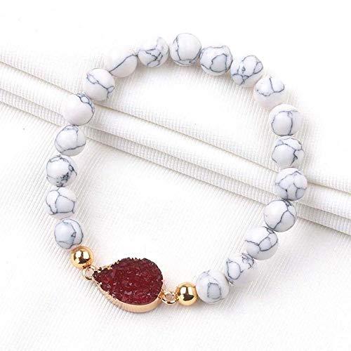 Stein Armband Armreifen,White Pine Wein Cluster Rot Armband Naturstein Handgefertigte Perlen Armbänder Für Frauen Schüler Paar Täglich Zubehör