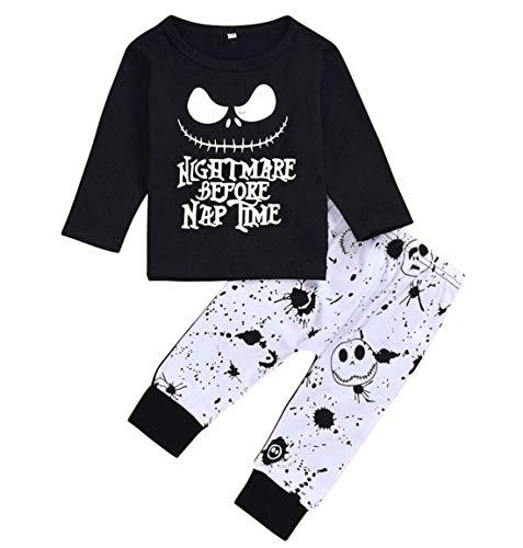 Moletom com capuz e calça de caveira Halloween Baby Boy Girl Clothes Nightmare Before Christmas 2 peças de roupa 0-4 anos, Long Sleeve, 2-3T