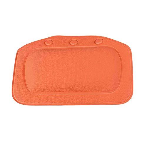 TOMMY LAMBERT Badewannenkissen PVC Saugnäpfe 3D Badezimmer Badewanne Spa Kissen für Kopf, Nacken, Schulter und Rücken Unterstützung Orange