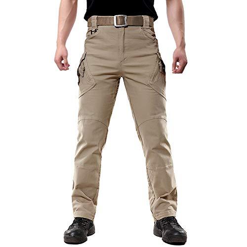 FEDTOSING Cargohose Herren Vintage Militär Tactical Hosen mit Stretch Arbeitshose Outdoor Viele Taschen Leichte Baumwolle(EUKhaki S, 30W30L