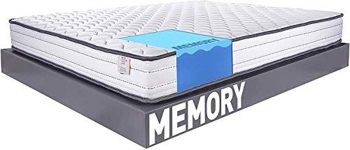 Farmarelax KIT 2 CUSCINI MEMORY, Materasso Ortopedico Memory Matrimoniale 160x190cm, Altezza 17cm, Memory, Tessuto Italiano, Ipoallergenico, Memory EcoBlu, (160x190 Kit 1 materasso e 2 guanciali)